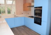 Gloss Blue Kitchen Southampton, bespoke painted kitchens Southampton