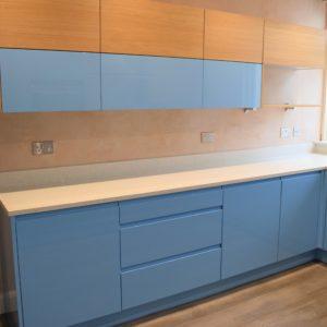 Bespoke Blue gloss kitchen Southampton, Gloss blue kitchen Southampton