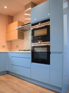 Blue gloss painted kitchen in Southampton,