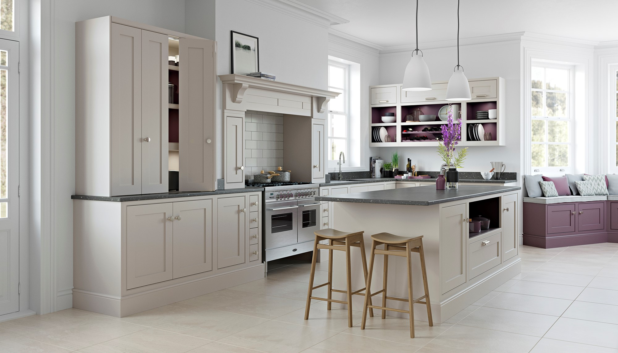 Cashmere and Aubergine in-frame shaker kitchen