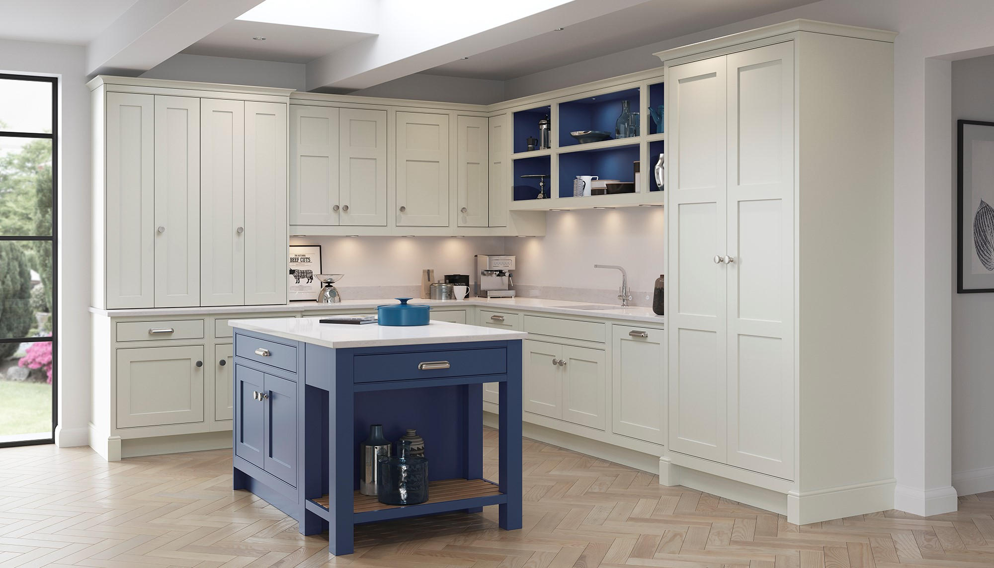 Light Grey and Tyrolean Blue in-frame shaker kitchen
