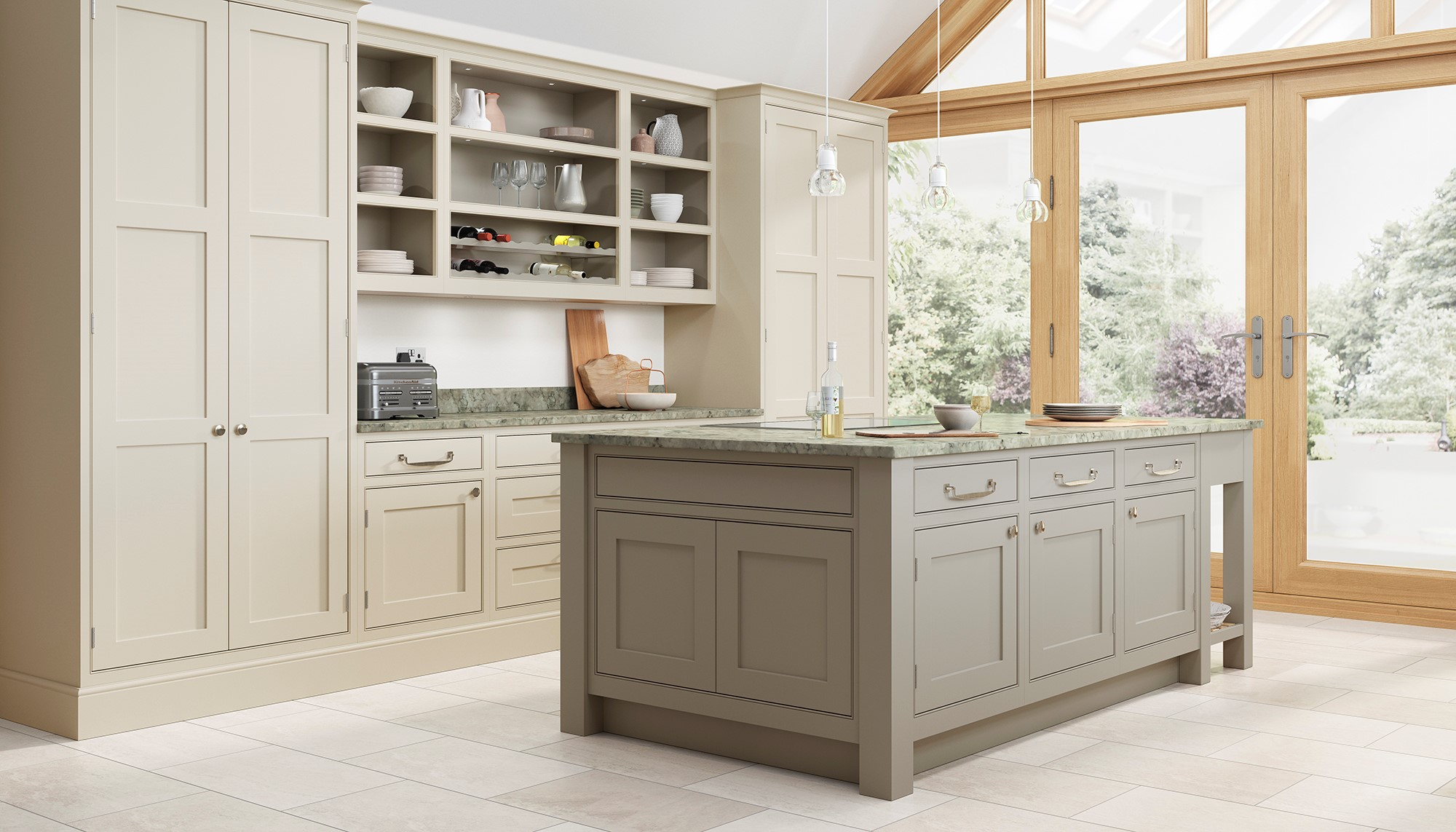 Pumice and Taupe Grey in-frame shaker kitchen