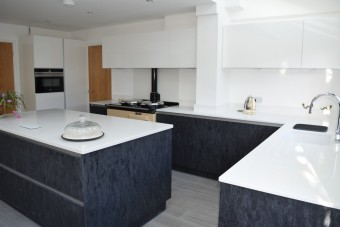 Contemporary stone graphite kitchen in Portsmouth