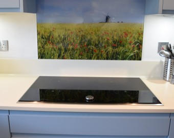Bespoke glass splashback, Southampton kitchens